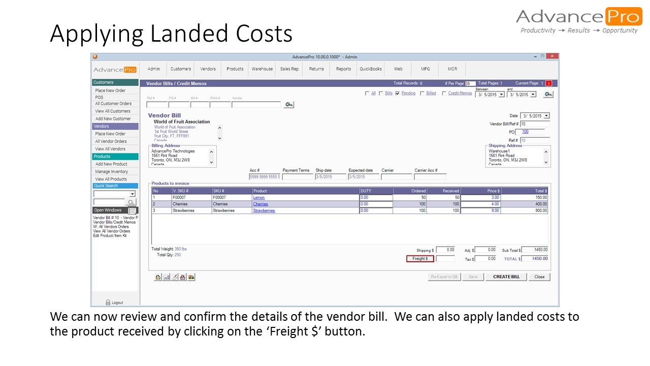 Applying Landed Costs