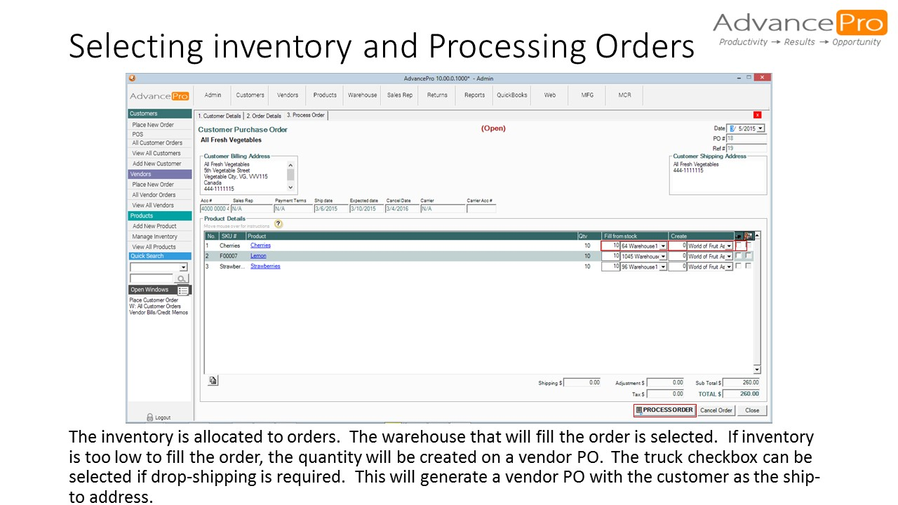 Selecting inventory and Processing Orders