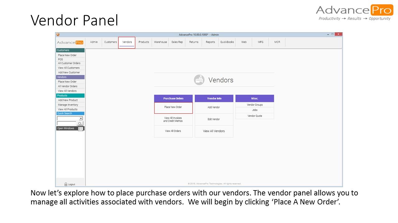 Vendor Panel