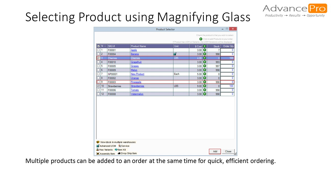 Selecting Product using Magnifying Glass